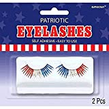 amscan 393813 Patriotic Red White Blue Costume Eyelashes, Multicolor, One Size