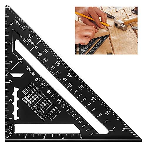 Transportador Triángulo,Regla Triángulo Negro,Transportador 7 Pulgadas,Regla Triangular Aleación Aluminio,Adecuado Para Ingenieros,Carpinteros,Medición De Diseño De Edificios (Métrica & Imperial)