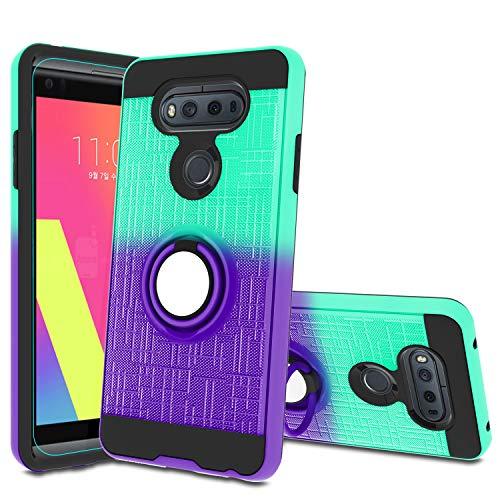 LG V20 Case, LG V20 Phone Case with HD Screen Protector,Atump 360 Degree Rotating Ring Holder Kickstand Bracket Cover Phone Case for LG V20 Mint/Purple