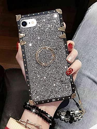 Babemall Schutzhülle für iPhone 7 Plus/8 Plus, elegant, hochwertig, glitzernd, quadratisch, stoßdämpfend, mit Riemen, Rückseite mit Gurt (schwarz)