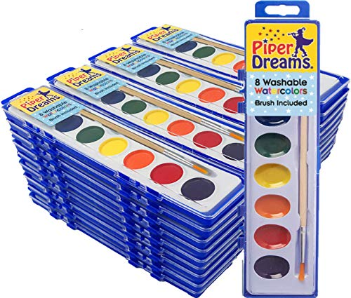 36 Pack - Watercolor Paint Sets for Kids - Quality Wood Brush - Washable - Nontoxic - 8 Vibrant Colors - Closable Lid - School or Party Bulk Pack