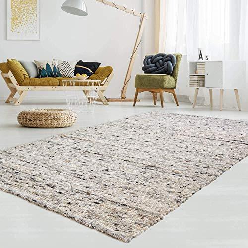 T.Carpet Gewalkter Handweb-Teppich Lambrecht aus hochwertiger Schurwolle edel und aufwendig verarbeitet fürs Wohnzimmer, Eszimmer, Schlafzimmer und die Küche geeignet 30 Grau meliert 130 x 190 cm