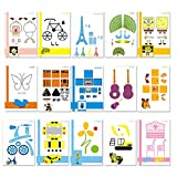 20 Sheets 3D Printer Drawing Molds Paper Stencils for 3D Printing Pen, 40 Patterns and a Clear Plate Set