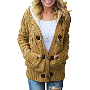 Women's Button Down Knit Cardigans Fleece Hooded  Sweater