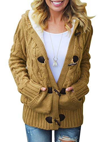 Sidefeel Women Button Up Cardigan Hooded Sweater Coat Outwear with Pockets X-Large Dark Yellow
