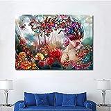 wZUN Arte Moderno en Lienzo para niña y Soporte de Flores, Mural para Sala de Estar, Imagen Modular, decoración del hogar, 50x70 cm