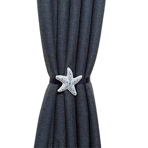 Home ChicYang HCY 1Pair Girl's Room Starfish Magnetic Curtain Tiebacks Curtain Buckle Bedroom Drapery Holder (Navy Blue)