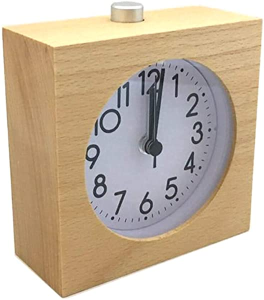 Tenkyo Square Silent Table Top Alarm Clock Analog Wooden Desk Clock Battery Operated Small Brown