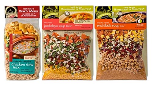 Frontier Soups 100% Natural Homemade In Minutes Gluten-Free Soup Mix 3 Flavor Variety Bundle: (1) Colorado Campfire Chicken Stew, (1) New Orleans Jambalaya, and (1) AZ Sunset Enchilada, 4.5-7 Oz Ea