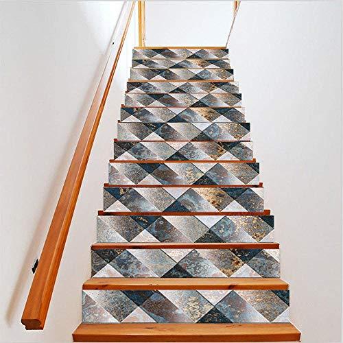 Diy Creativas Decoración Del Hogar Escaleras Pegatinas - Vinilo decorativo escalera tridimensional estilo mosaico