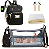 Diaper Bag with Changing Station, Portable Diaper Backpack with Bassinet, 3 in 1 Travel Foldable Baby Bed, Black Diaper Crib with Changing Pad (Bag + Crib + USB)