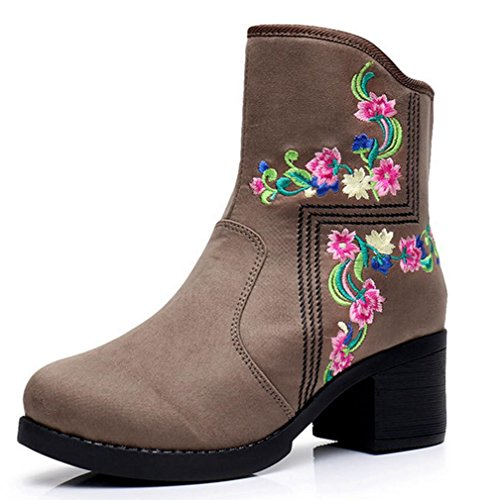 Neue Frauen handgemachte bestickte Stiefeletten Retro Side Zipper einzelne Schuhe , gray , 37