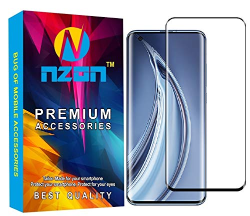 nzon ? case friendly 9h hardness anti scratch anti explosion edge to edge full screen coverage, 3d front full coverage tempered glass screen protector for xiaomi mi 10 (black)