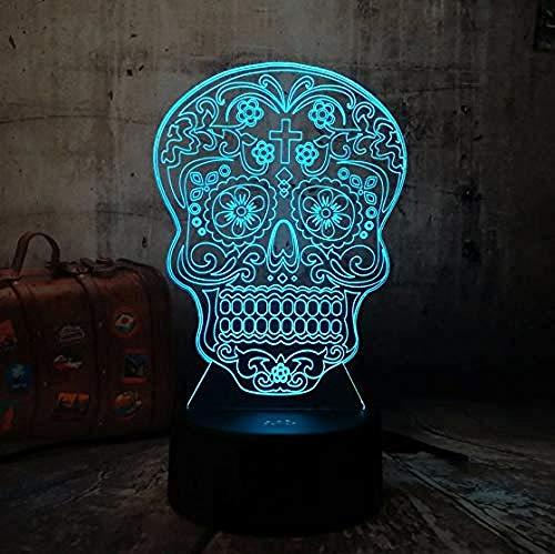 3D Illusion Night Light bluetooth smart Control 7&16M Color Mobile App Led Vision Cool Skull Escritorio Mesa Dormitorio Juguete Kid Sleep Baby Child Sleeping Home Party colorido Creativo gif