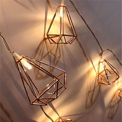 Rose Gold Diamond Cage Battery Operated LED Fairy Lights Geometric String Lights Warm White,Rose Gold Metal Lamps Decor for Indoor Wedding Party Bedroom Christmas