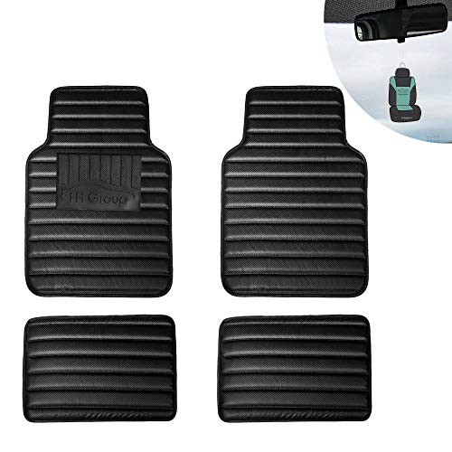 FH Group 12001 Luxury All-Season Heavy Duty Faux Leather Car Floor Mats Stripe Design w. High Tech 3-D Anti-Skid/Slip Backing, Carbon Black Color w. Gift-Universal fit for Cars, auto, Trucks, SUV