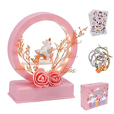 DTMNEP Electric Unicorn Music Box, Battery Powered Melody Boxes Musical Box with Artificial Flower, White Lighting for Daughter, Girls, Birthday Gifts, Valentines Gift (Pink)