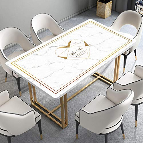 LVYONG Mantel Impermeable Y Resistente Al Aceite Marmol Nordico Desechable PVC Plastico Estera De Mesa Mesa De Comedor Estera De Mesa Anti-Escaldado Mantel Grueso-Mo92-Diana White