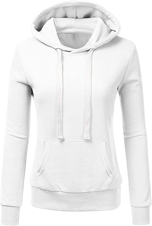 TARIENDY Women Plus Size Sweatshirts Lightweight Long Sleeve Tops Comfy Hoodie Drawstring Hooded Blouse with Pocket