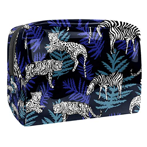 Bolsa de maquillaje de PVC para mujer y niña, organizador de artículos de tocador cosméticos, bolsa de 17 x 7 x 5 cm, peces y hojas de loto en el estanque, Color 5, 18.5x7.5x13cm/7.3x3x5.1in, Neceser