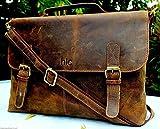 Handolederco 16' Vintage Rustic Buffalo Hide Leather Messenger Satchel Laptop Briefcase Shoulder Bag for Men's and Women