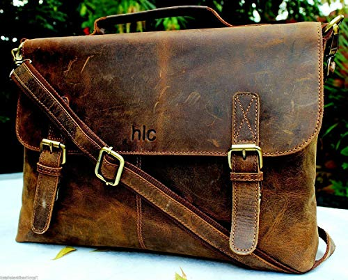 Men's Crazy Horse Leather Shoulder Messenger Briefcase, 15.5' Laptop Bag
