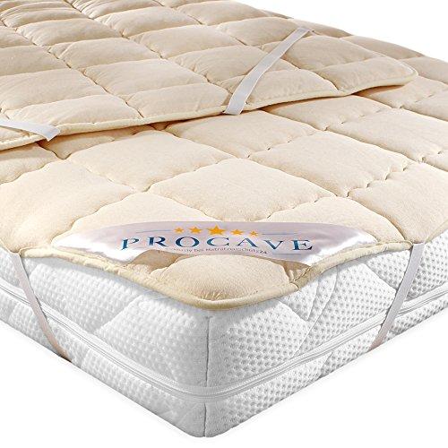 PROCAVE weiches Unterbett aus Schurwolle, atmungsaktiver Matratzen-Schoner, Matratzenbezug mit 4 Eckgummis,Matratzen-Auflage 160x200 cm