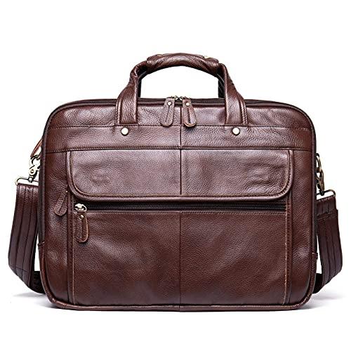 Bolso bandolera para portátil de 14 pulgadas, bolso bandolera de piel auténtica expandible para negocios, bolso grande para ordenador portátil