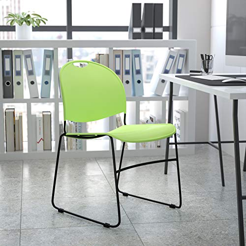 Flash Furniture Stapelstuhl, Metall, Grüner Kunststoff/schwarzer Rahmen, 1 Pack
