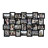Adeco PF0553 Black Wood Wall Hanging Picture Photo Frame Collage 4x6, Basket-Weave Design, 28 Openings, 4 by 6'