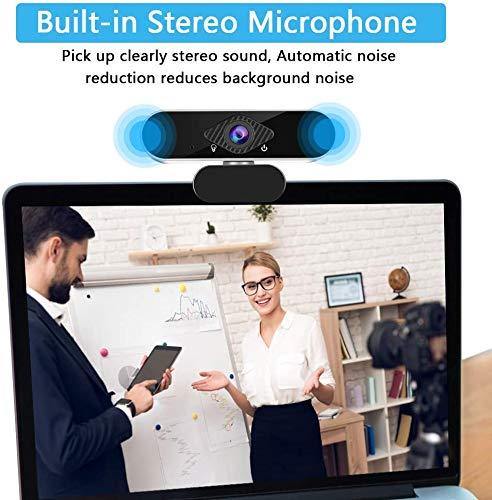 1080p-Webcam mit Mikrofon USB-Webcam Plug & Play 360-Grad-Drehung für Computerkameras mit 110-Grad-Weitwinkel mit Datenschutzabdeckung für Desktop-, Laptop- und Videoanruf-Aufzeichnungskonferenzen