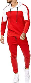 Leegor Men Jogging Tracksuit Sportsuit Sportswear Slim Fit, Hooded Coat Sweat Jacket + Pants Sweatpants