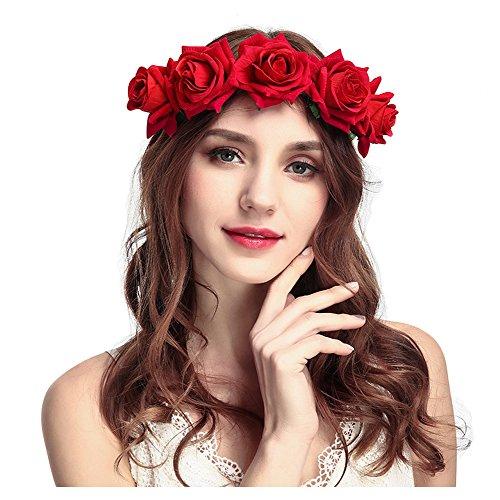 keland Fleur Serre Tête Accessoire Bandeau Cheveux Mariage Cérémonie Plage Voyage Couronne de Fleur Tête Garland Pour Femmes Filles (Rouge)