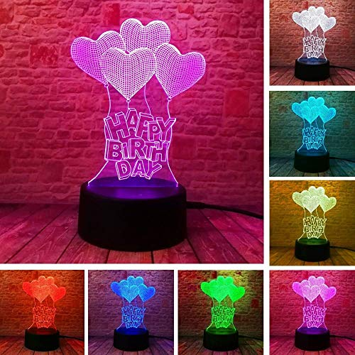 New Happy Birthday Love Heart Balloon 3D Vision LED RGB Night Light Bulb Table Illusion Mood Dimming Light 7 Color geweldig Gift