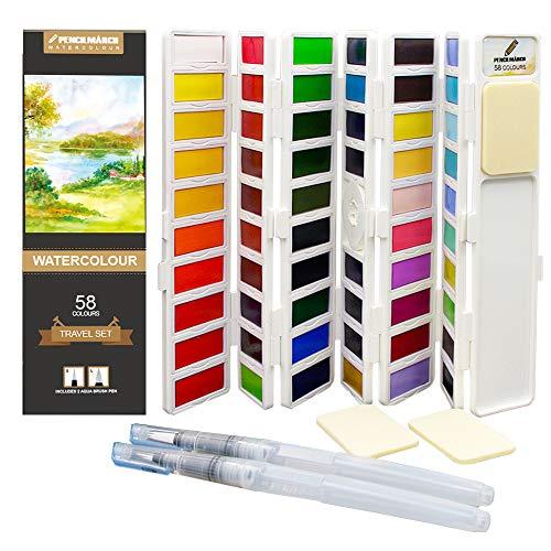 Set di Acquarelli di 58 Colori con Mezze Pastiglie - Perfetto per Artisti e Amatori - Scatola Acquarelli Pieghevole con 2 Pennello Acqua Brush e 3 Spugne - PENCILMARCH