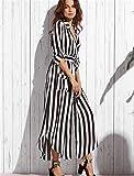 ELEGENCE-Z Schwangerschaftskleidung, Europäische Und Amerikanische Sexy Streifen, Lange Ärmel, Tiefes V Schlitz Kleid, Gürtel, Mutterschaft Shirt Rock. Black L