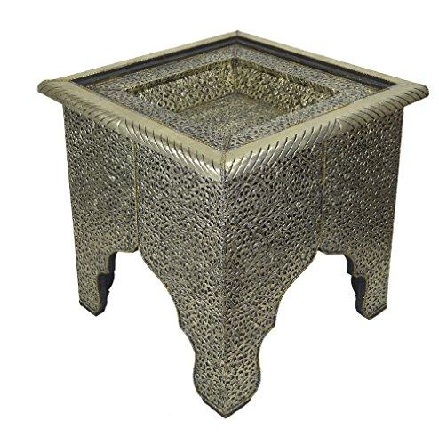 Tavolino da caffè Marocchino Quadrato, in Argento, Dimensioni 45 x 45 x 42 cm (l x p x h)