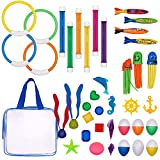 Pool Diving Toys Variety Water Diving Ring Numbered Dive Stick Durable Swim Pool Dive Toys Easy Retrieval Sinking Diving Stick Swimming Dive Toy with Storage Bag Pool Toy for Kids Girls Boy 39 Piece