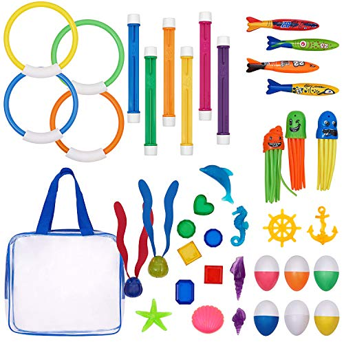 Pool Diving Toys Variety Water Diving Ring Numbered Dive Stick Durable Swim Pool Dive Toys Easy Retrieval Sinking Diving Stick Swimming Dive Toy With Storage Bag For Pool Kids Girls Boy 39 Piece