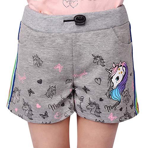 L&K-II Mädchen Shorts mit Einhorn und Farbstreifen Muster Kinder Baby Kurze Hose Baumwolle 2705 Grau 116