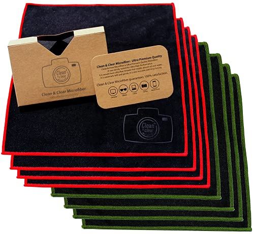 Microfiber Cleaning Cloth, Extra Large [8 Pack] Ultra Premium Quality Lens Microfiber Cloth - Microfiber Cloth for Camera Lens, Glasses, Screens, and All Lens.