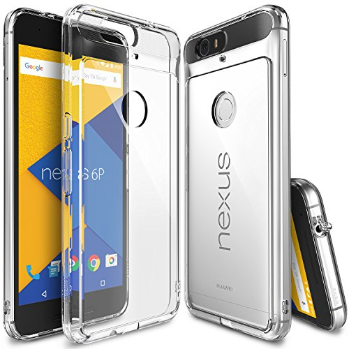Ringke Fusion Compatible with Nexus 6P Case Clear PC Back TPU Bumper with Screen Protector Drop Protection, Shock Absorption Technology Attached Dust Cap for Huawei Nexus 6 P - Clear