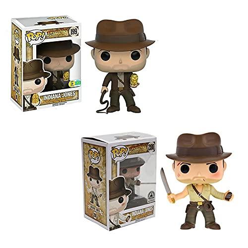 2Pcs Pop Vinyl Anime Indiana Jones # 199 Metálico Eccc # 200 Dr. Henry Figura De Acción Juguetes Modelo Decoración Delicados Niños 10Cm