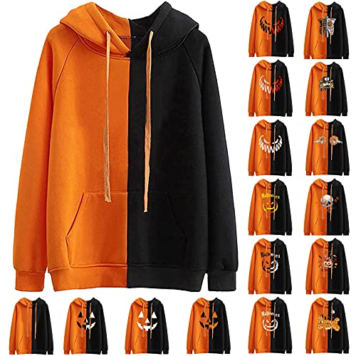Halloween Hooded Sweatshirt for Women Casual Cute Graphic Long Sleeve Pullover Tops Trendy Color Block Costumes Blouses