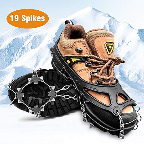 HWeggo Steigeisen,Silikon Schneeketten Steigeisen mit Edelstahl Anti Rutsch Spikes für High Altitude Wandern EIS Schnee - 19 Zähne Edelstahl Größe M (36-40 EU)