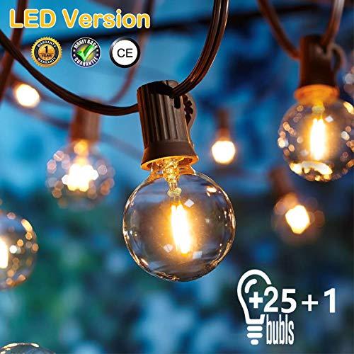 [26 LED Version] Lichterkette Außen,9 Meter 26 Glühbirnen OxyLED G40 LED Garten Lichterkette Terrasse außerhalb der Lichterkette,Wasserdichte Innen/Außen Lichterketten für Party,Hochzeit,Weihnachten