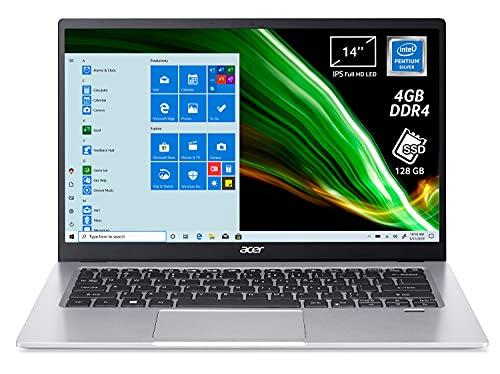 Acer Swift 1 SF114-34-P9B7 PC Portatile, Notebook con Processore Intel Pentium Silver N6000, RAM 4 GB, 128 GB PCIe NVMe SSD, Display 14  IPS FHD, Intel UHD, Microsoft 365, Windows 10 Home in S mode