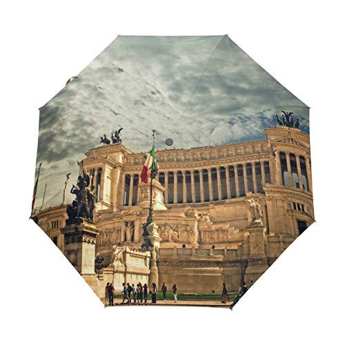 MONTOJ Vittorio Emanuele-Monument 3-Fach Reise-Regenschirm UV-Schutz mit automatischer Öffnung