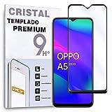 REY Protector de Pantalla Curvo para OPPO A5 2020 - OPPO A9 2020, Negro, Cristal Vidrio Templado Premium, 3D / 4D / 5D