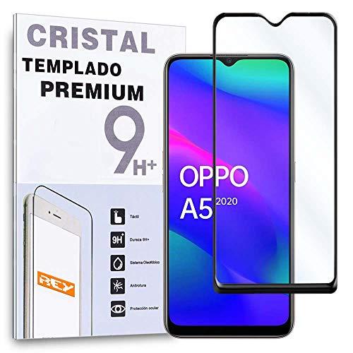 REY Protector de Pantalla Curvo para OPPO A5 2020 - OPPO A9 2020, Negro, Cristal Vidrio Templado...